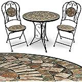 Deuba Mosaik Gartenmöbel Sitzgarnitur Sitzgruppe Balkonset Tisch Barcelona 3tlg. Set