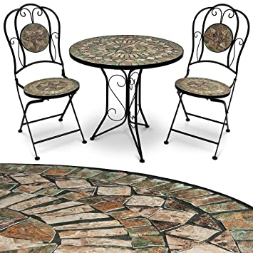 Salon de jardin Mosaique Barcelona - 1 Table 2 Chaises - Convient intérieur  et extérieur