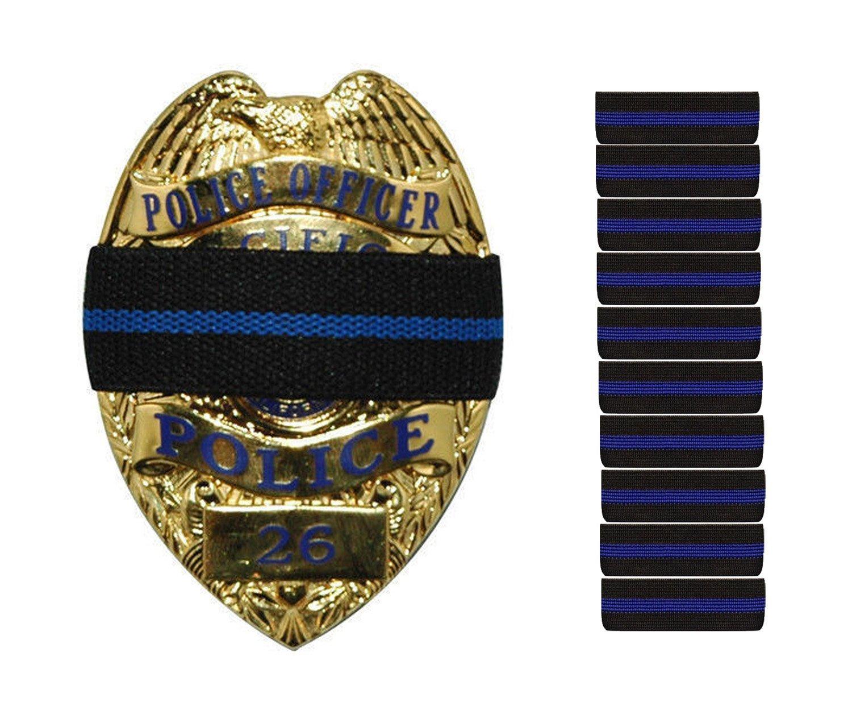 Paquete de 10 unidades fina rayas línea azul rayas fina negro oficial de policía Badge Shield Funeral duelo de guardia de honor banda correa 3/4