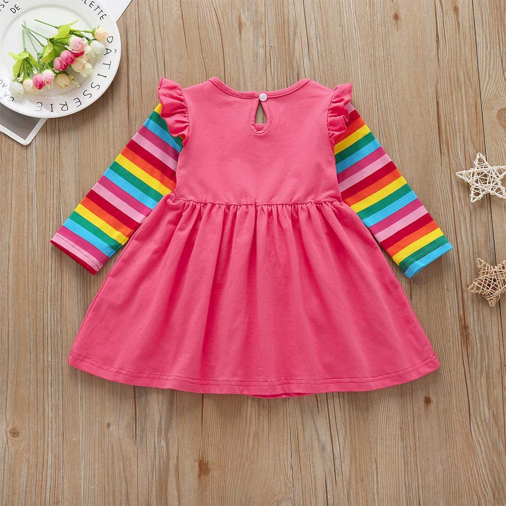 AMhomely Toddler Baby Girls Long Sleeve Ruffles Sequin Star Print Tulle Dress Clothes Sale UK Size Best Gift for Children