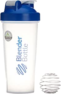 BlenderBottle Classic - Botella de agua y mezcladora, color azul-transparent, 820 ml