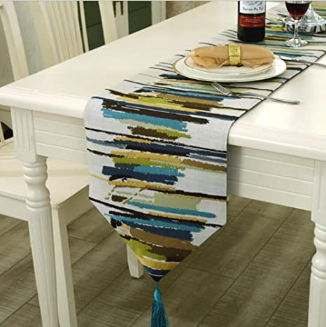 1PCS 30x160 Cm Fashion Modern Table Runner Colorful Nylon Runner Table Cloth  With Tassels Cutwork Embroidered