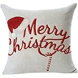 Christmas Pillow Case,Beautyvan Comfortable Christmas Linen Square Throw Flax Pillow Case Decorative Cushion Pillow Cover (A)