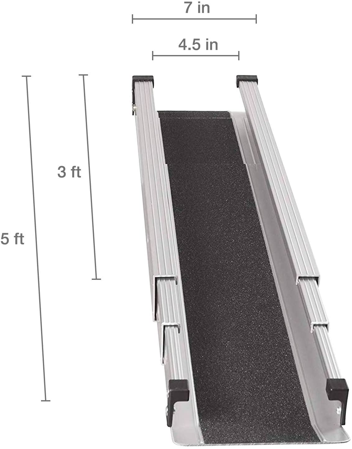 MABIS DMI Healthcare Portable Wheelchair Ramp/Threashold Ramp, Adjustable, Telescoping, Retractable, and Lightweight Loading Ramp with Cover, Silver: Health & Personal Care