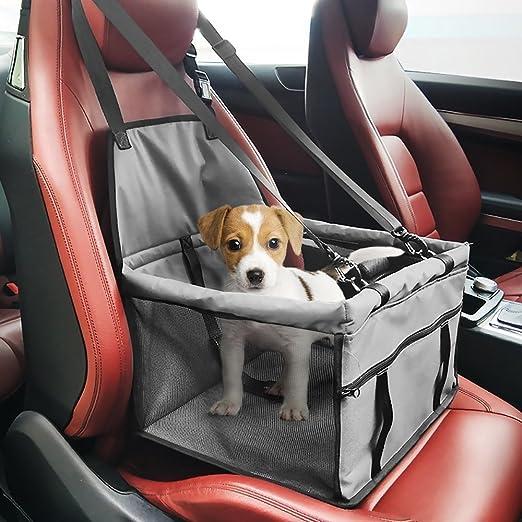 Ouguan Gris Asiento del Coche de Seguridad para Mascotas Perro Gato Plegable Lavable Viaje Bolsas y otra Mascota Pequeña con Cremallera Bolsillo,Bolsa de transporte para mascotas: Amazon.es: Productos para mascotas