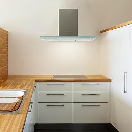 Klarstein Violetta Bianco campana extractora (capacidad de absorción de 541 m³/h, 90 cm, iluminación LED, luz de ambiente, filtros de carbón activado y antigrasa, silenciosa) - blanco: Amazon.es: Hogar