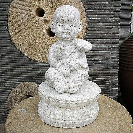 WAYERTY Sentado Buda Estatuas Decorativos Jardín Esculturas Mano-Pintado Artesanía Ornamentos Al Aire Libre Patio Yarda Zen Monje Figura Estatua B 30x30x50cm(12x12x20inch): Amazon.es: Hogar