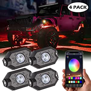 RGB LED Rock Lights Kit Auto Underglow Neon LED Light with Bluetooth Controller, App Control, Timing Function, Music Mode for Car Jeep Truck SUV ATV Offroad Boat - 4 Pods