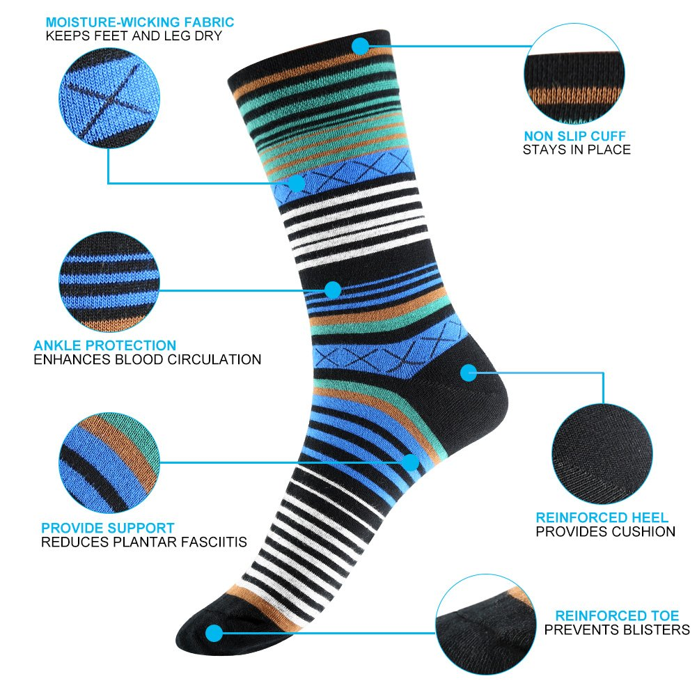 Tselected Women's Classic Dress Socks Colorful Warm Funny Casual Crew Vintage Style US Size 6-11 5 Pack by Tselected (Image #5)