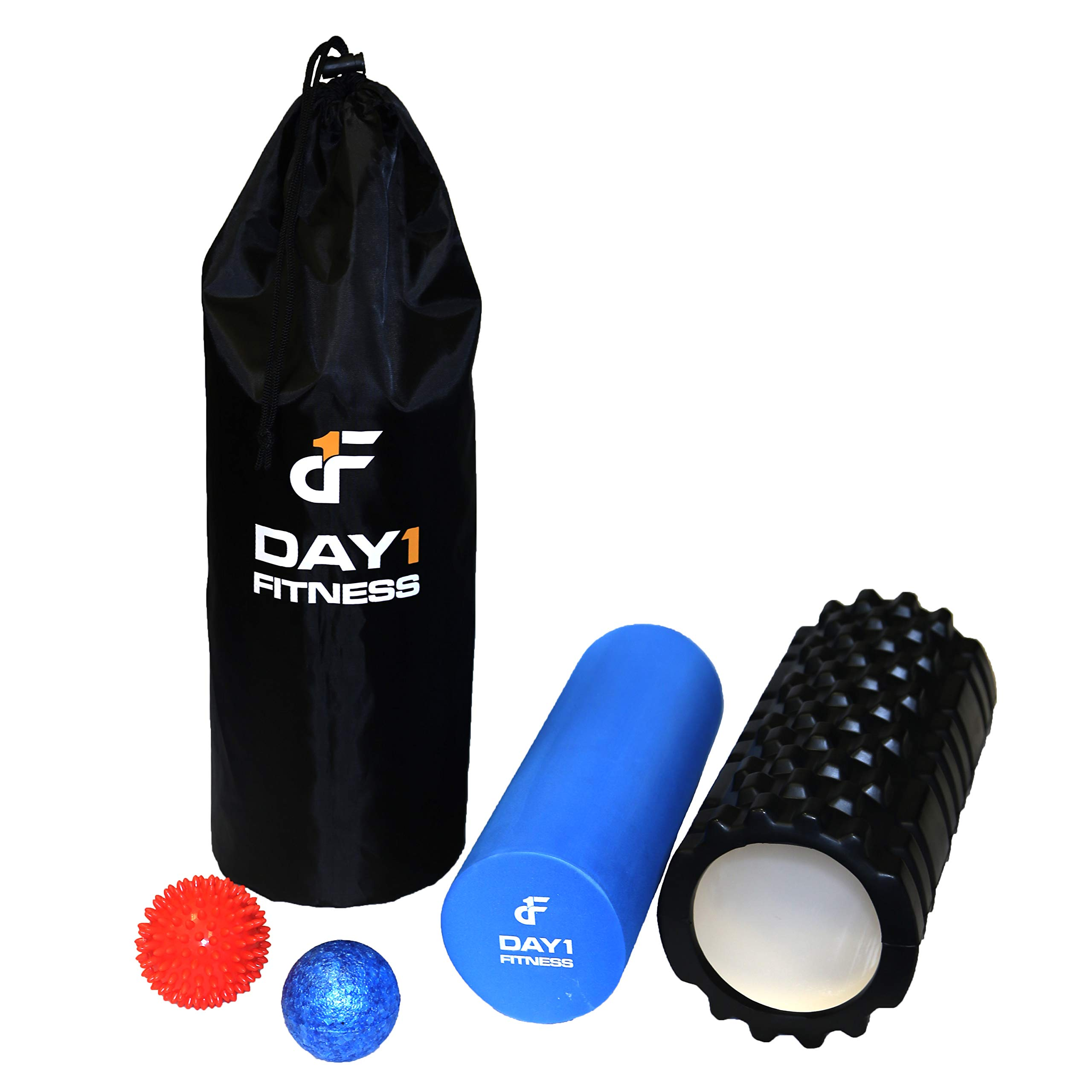 Day 1 Fitness 13'' Black Massage Roller - Ribbed Foam Roller with Removable Core, Spiky Ball, High Density Ball, and Bag.