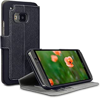 product image for QUBITS Low Profile Crosshatch PU Leather Wallet Cover Case/Holster with Viewing Stand and Card Holders for HTC One M9 - Black