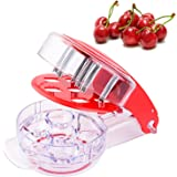 HENYD Manual Cherry Pitter Tool 6 Cherries Olive Red Jujube Stone Remover for Juicing Stew Soup Kitchen Utensils and Gadgets