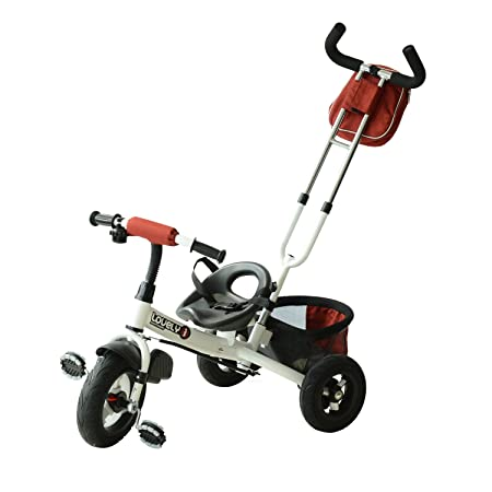 Qaba 2-in-1 Lightweight Steel Adjustable Convertible Tricycle Stroller – Red