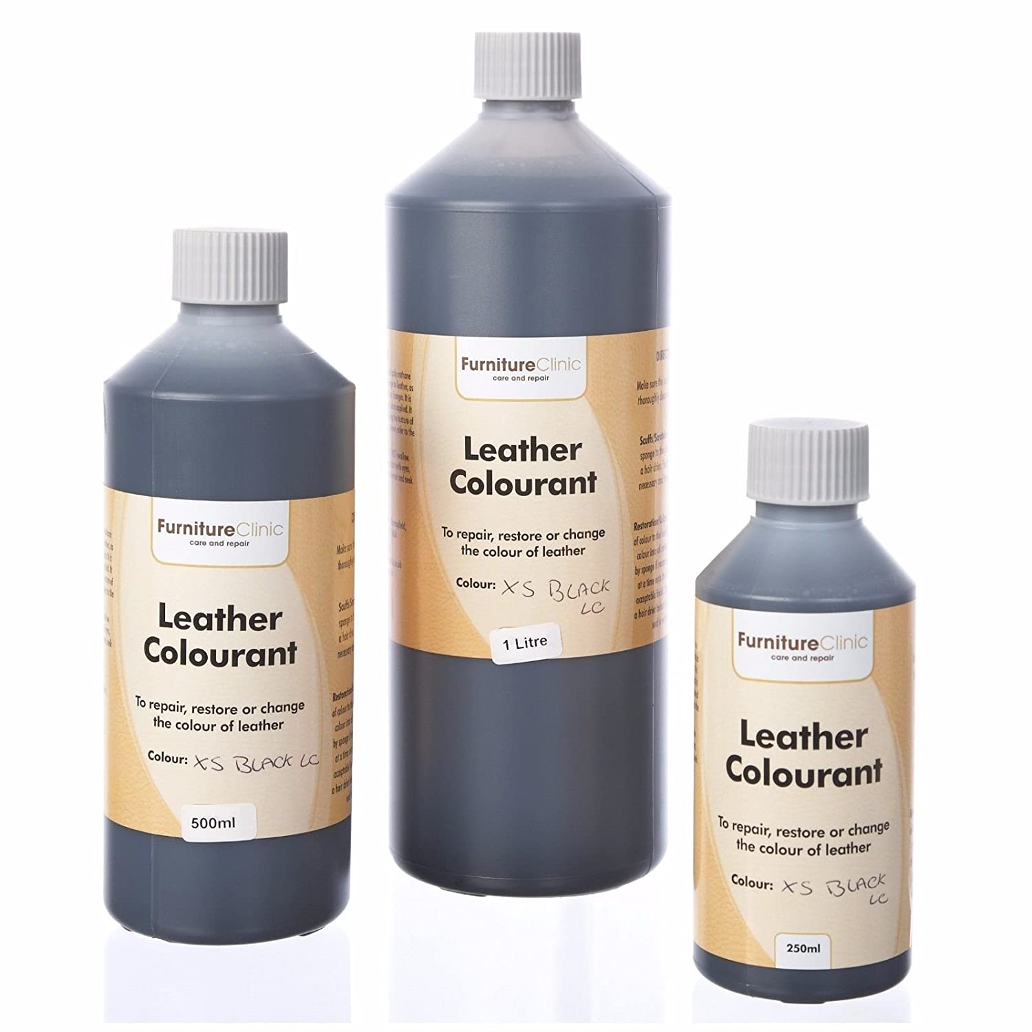 Furniture Clinic Black Leather Repair Paint, Dye, and Leather Colourant | Multiple Sizes | A Self Seal Colourant for Leather Sofas, Leather Suites, Jackets, Chairs, Shoes, Bags and More (50ml)