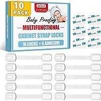 4our Kiddies Baby Proofing Child Safety Cabinet Locks (10 Pack) Door Locks for Cabinet, Fridge, Cupboard, Toilet, Drawer…