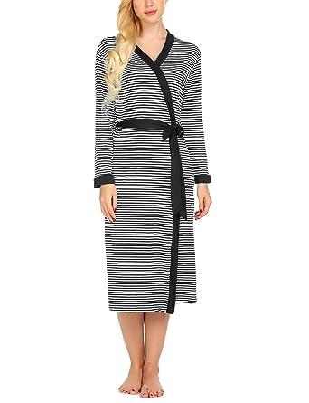 15946a8888 Ekouaer Womens Bathrobe Cotton Lightweight Nightgowns Sleepwear Long Spa  Robe (S-XXL)