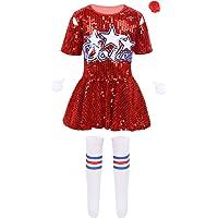 Freebily Disfraz Animadora Niña Lentejuelas para Actuación Animación