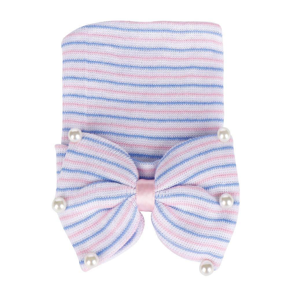 squarex  Bonnet Naissance bébé - Couvre-Chef à Rayures en Nacre - Coupe-Vent - Extérieur - Protection - Doux 0 à 5 Mois