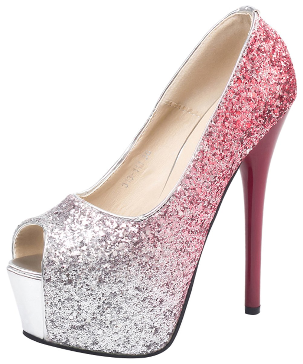 T&Mates Womens Peep Toe Glitter Sparkling Stiletto High Heel Slip On Platform Party Dress Wedding Pumps (5 B(M) US,Red)