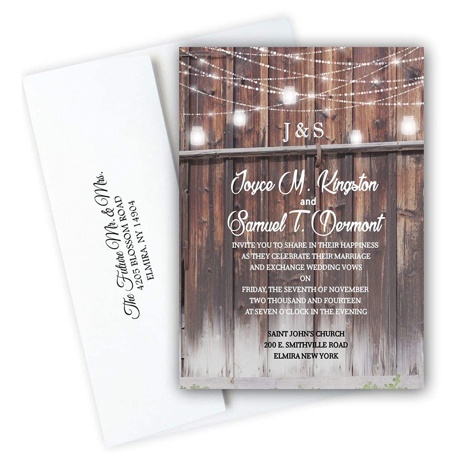 Amazon Com Barn Rustic Wedding Invitations With Rsvp Cards Set Of