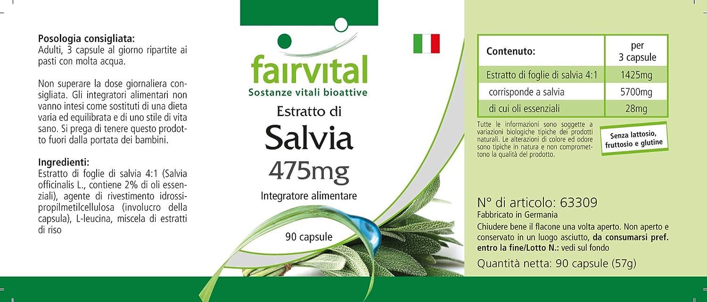 Salvia cápsulas 475mg - VEGANO - Altamente dosificado - 90 ...