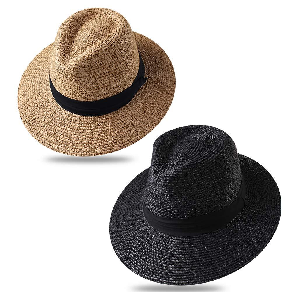Panama Roll up Hat Fedora Beach Sun Hat UPF53+ Braid Straw Short Brim Jazz Panama Cap for Women Men ...