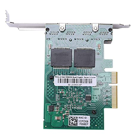 Iycorish Tarjeta De Red para Intel I350 Pci-E X4 Quad Rj-45 ...