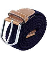 Moonsix Braided Elastic Belts for Men,PU Leather Stretch Fabric Woven Web Belt