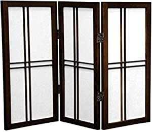 Oriental Furniture 2 ft. Tall Desktop Double Cross Shoji Screen - Walnut - 3 Panels
