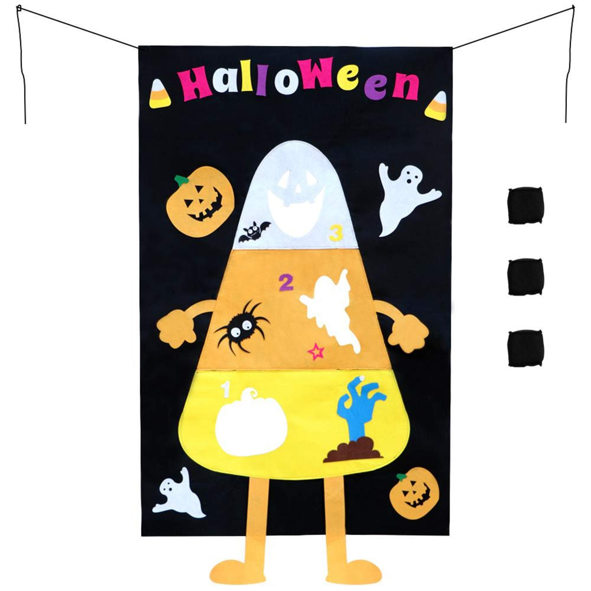 Halloween Hanging Toss Game Pumpkin Bag for Throwing with Three Bean Bags 30X51 inch Party Decoration Outdoor,Indoor for Kids