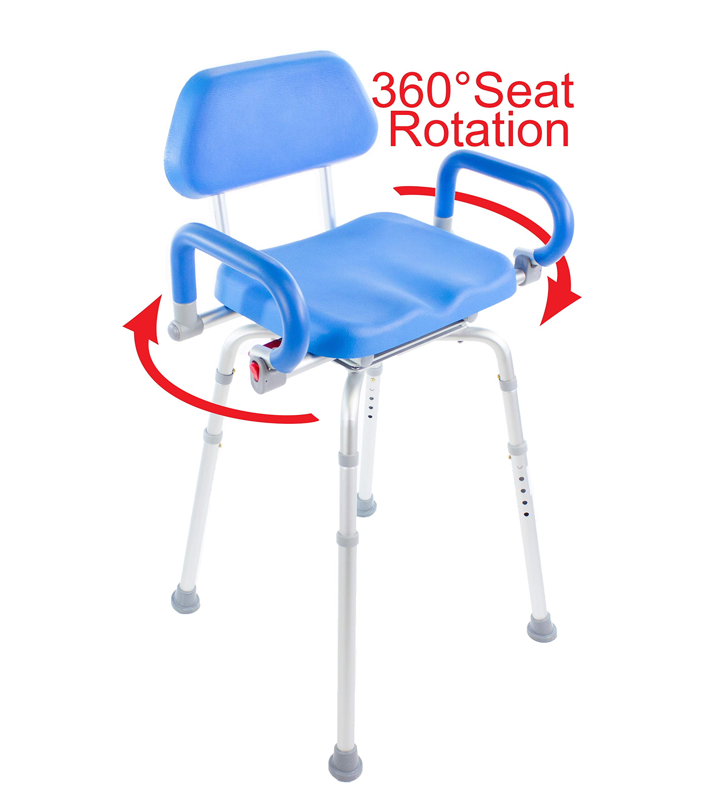 Hip Chair, Revolver(tm) Premium, Padded, Height Adjustable, SEAT-Angle Adjustable Hip Chair with Swivel Seat and Swing Away Arm Rests. Doctor and Rehab Specialist Recommended.