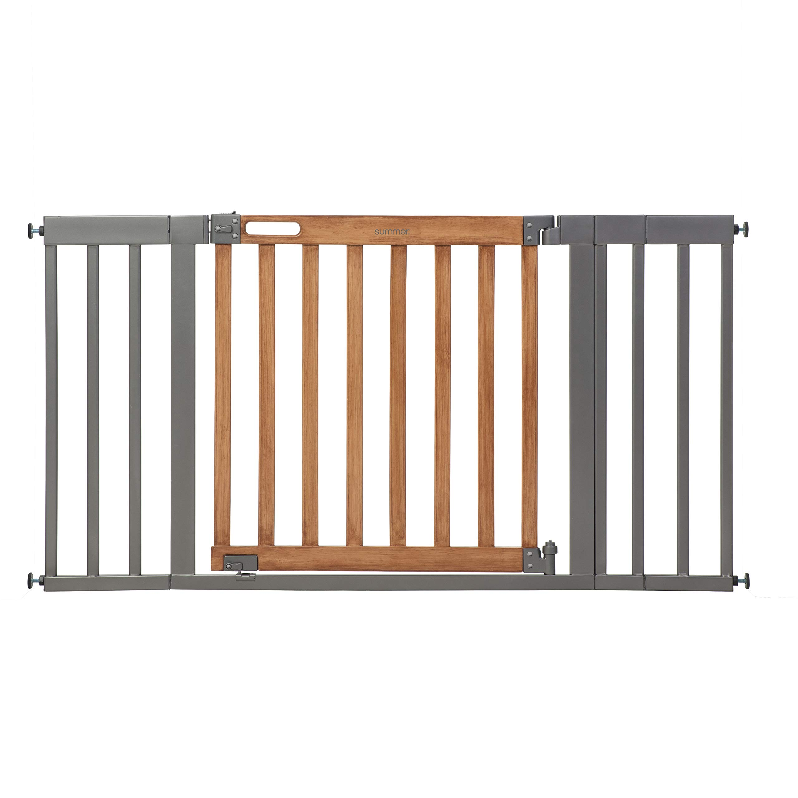 Summer Infant West End Safety Gate, 36'' - 60'' Wide & 30'' Tall, for Doorways & Stairways, with Auto-Close & Hold-Open, Honey Oak & Slate Grey, 36''- 60'' Wide by Summer Infant