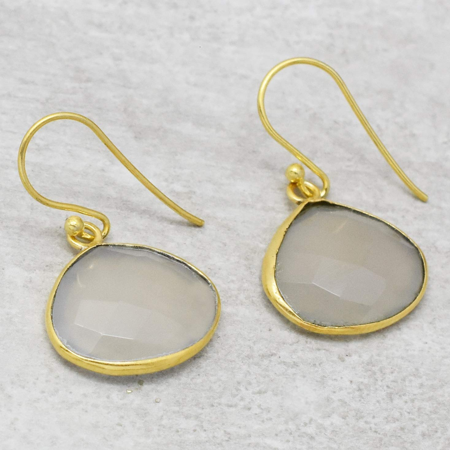 The V Collection earrings 22k yellow gold plated faceted white chalcedony dangling earrings gifts for her