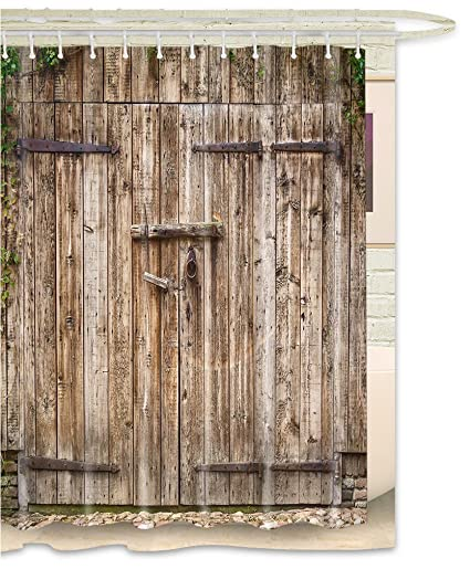 FOOG Rustic Barn Door Shower Curtain Rural Vintage Wooden Garage Country Waterproof Mildew Resistant Fabric