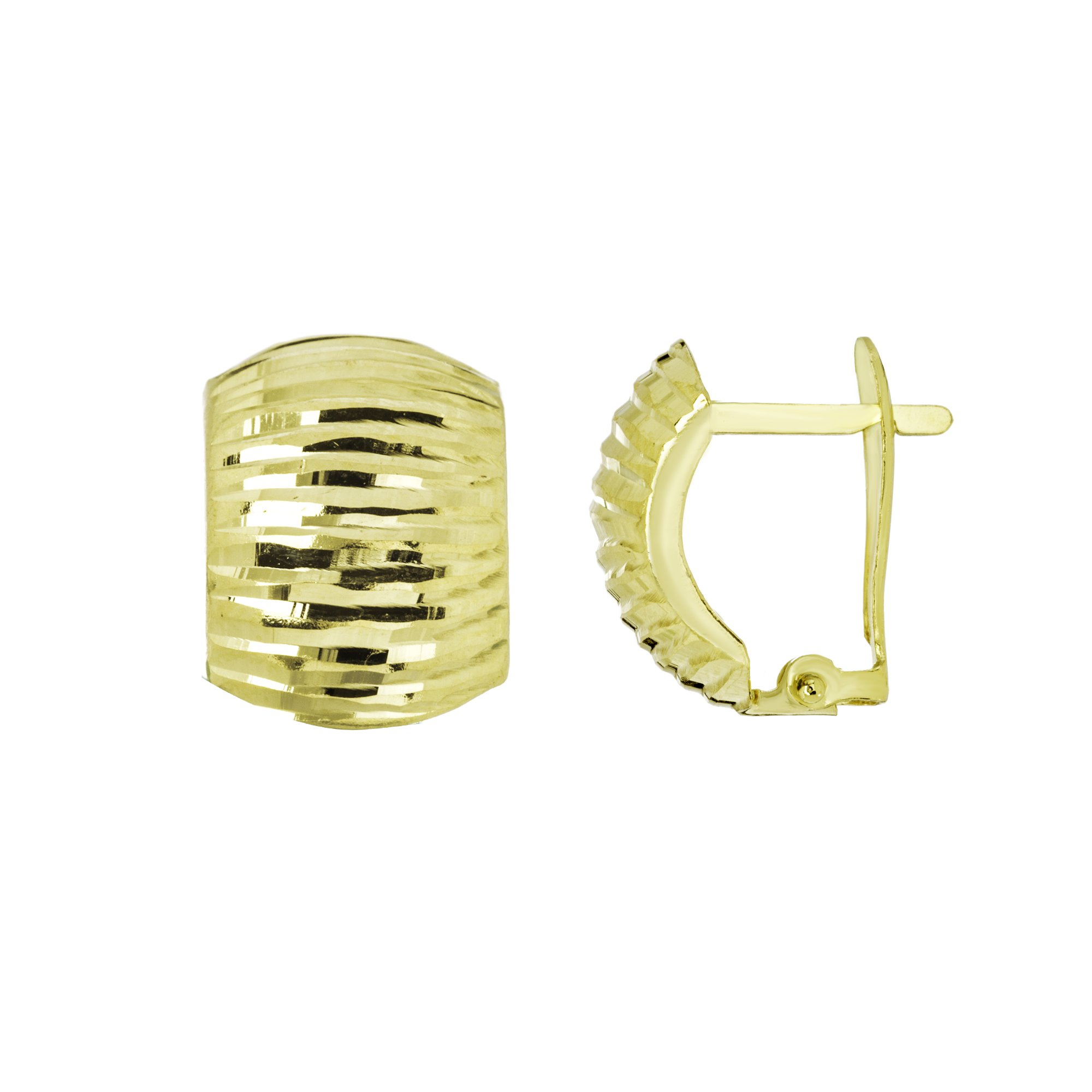 CLIP BACK EARRINGS, 10KT GOLD DIAMOND CUT DOMED CLIP BACK EARRINGS