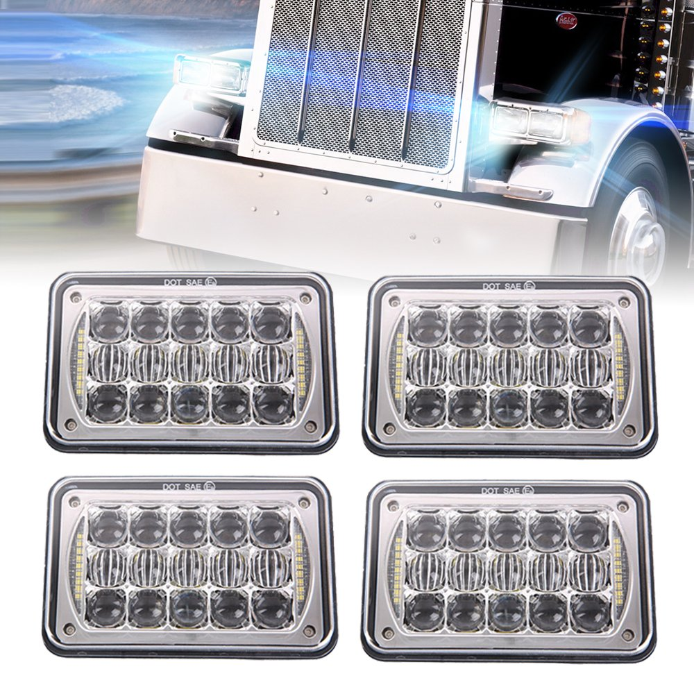 DOT Approved 60W 4x6 inch LED Headlights 5D Lens with DRL for Rectangular Replacement H4651 H4652 H4656 H4666 H6545 Peterbil Kenworth Freightinger Ford Probe Chevrolet Oldsmobile Cutlass(Chrome 4Pcs) by Bicyaco
