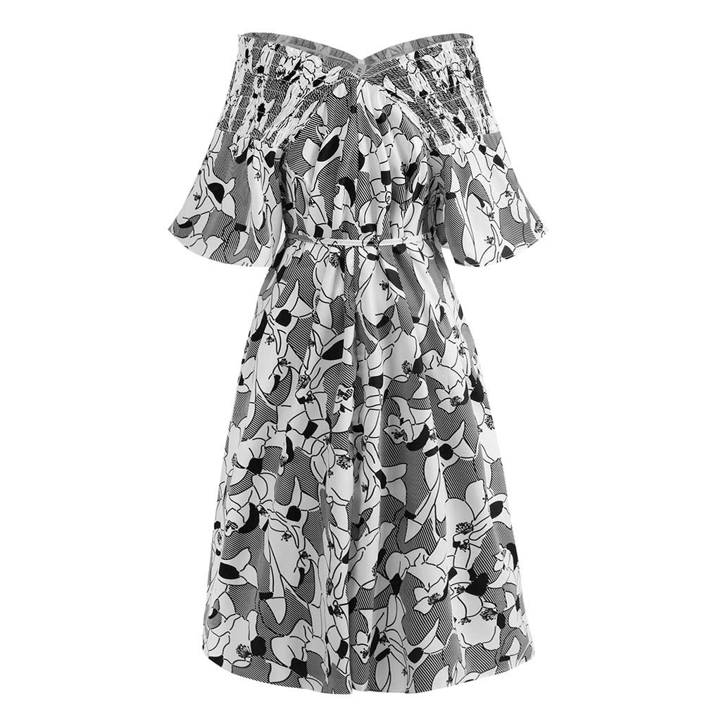 Giulot Plus Size Elegant Strapless 3/4 Sleeve Cocktail Party Dress Vintage Floral Print Pleated Midi Dress for Women Black by Giulot