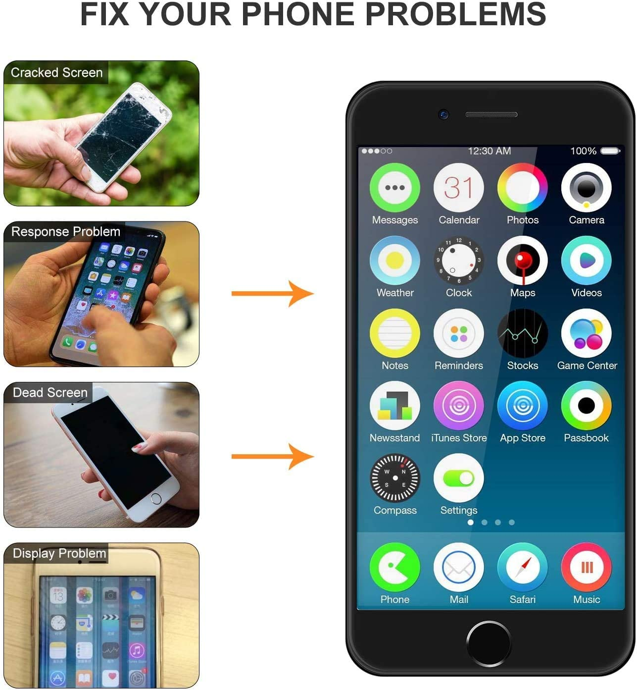 Waterproof Adhesive Strips Earpiece Repair Tools Kit Black for iPhone 7 Screen Replacement Black LCD Display iPhone 7 Replacement Touch Screen Digitizer Full Assembly with Front Camera