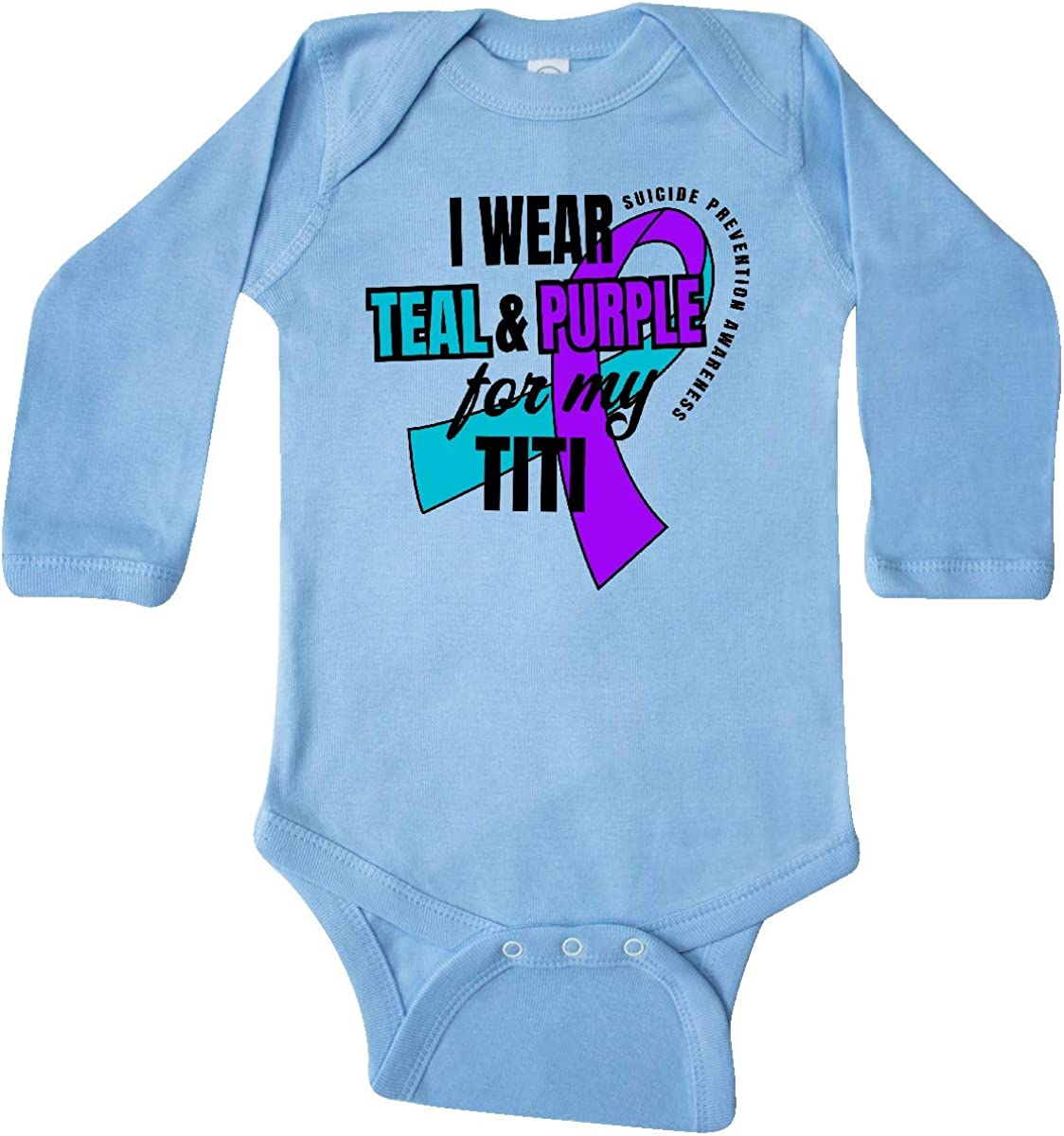 inktastic Suicide Prevention I Wear Teal and Purple for My Long Sleeve Creeper