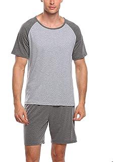 37d0a31b92b Ekouaer Mens Raglan Cotton Short-Sleeve Top Shorts Pajama Sets Super Soft  Sleepwear Lounge Set