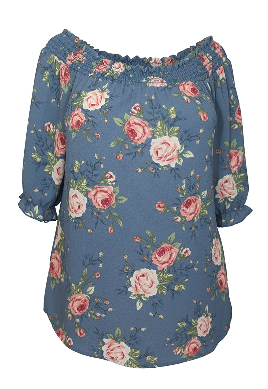 1f04e23ac40 eVogues Women's Smocked Off The Shoulder Tunic Top at Amazon Women's  Clothing store: