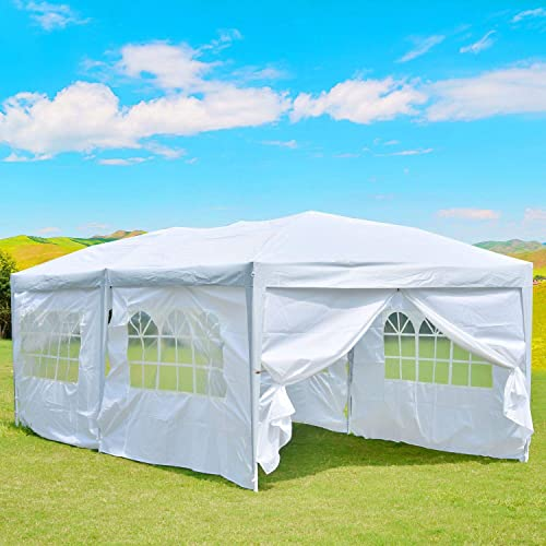 charaHOME 10 x20 Outdoor Canopy Tent, Pop up Canopy Tent,Gazebo Portable Wedding Party Tent Carrying Case Bag,Adjustable Folding Gazebo Pavilion Patio Shelter with 6 Removable Side Walls,White