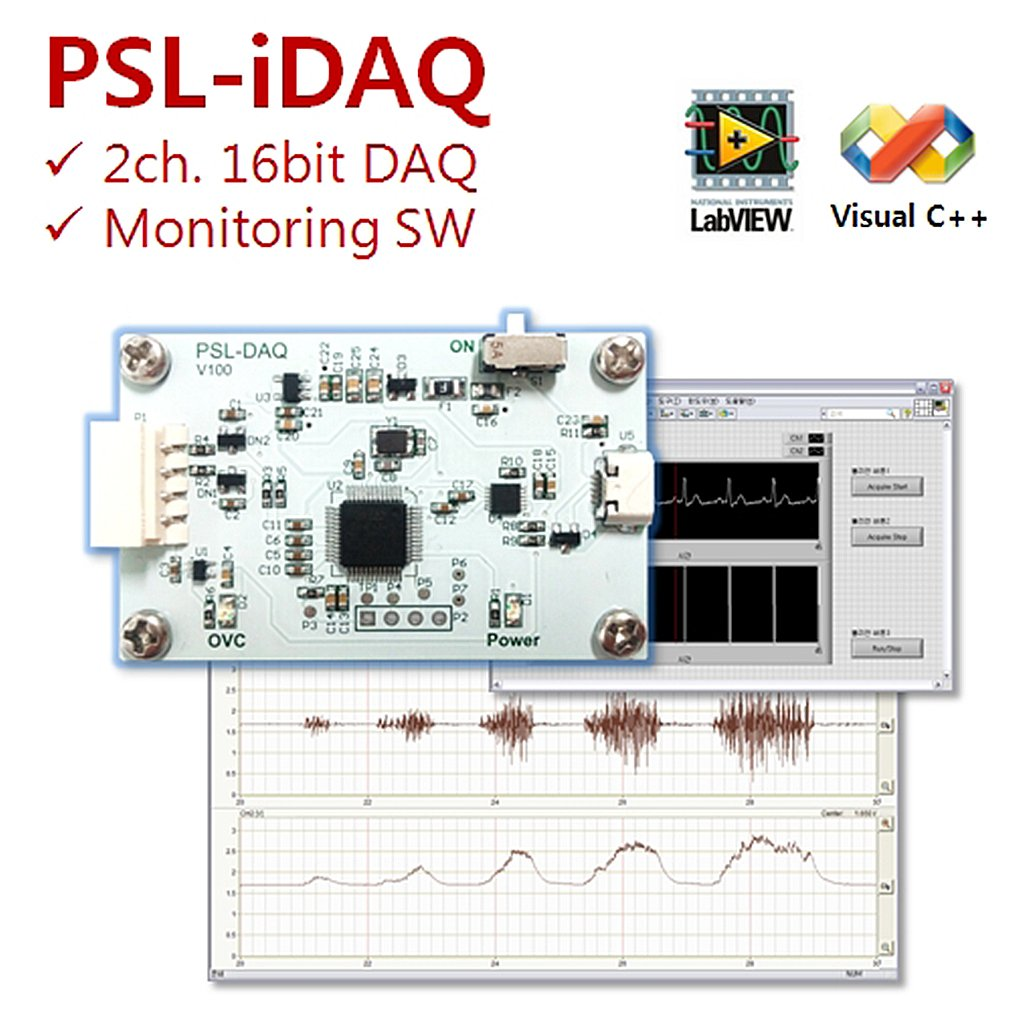 [PhysioLab] PSL-DAQ / Small 2 Channel 16bit USB Data Acquisition Module / Biosignal DAQ