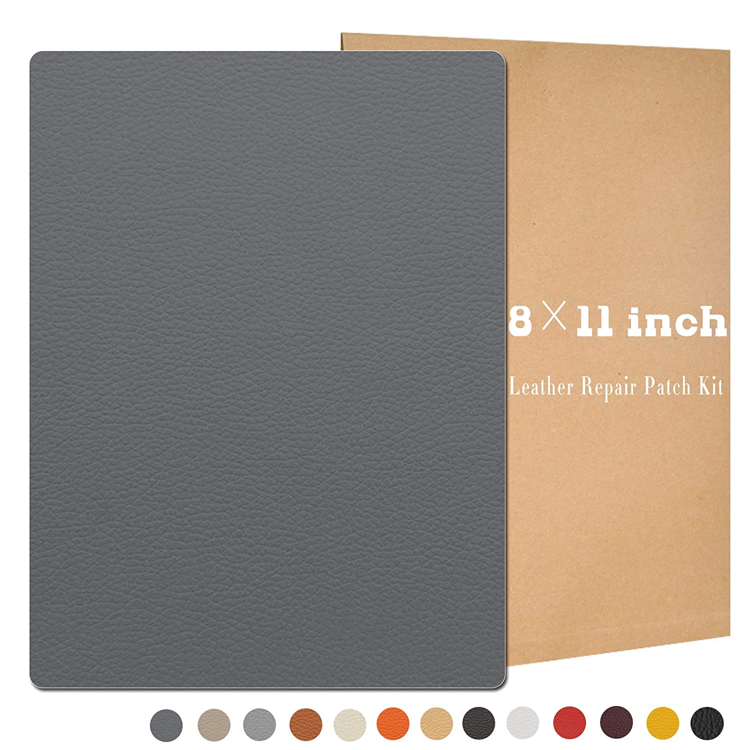 4 Pcs 8 × 11inch Leather Repair Patch Kit, Self-Adhesive Sticker for Leather and Vinyl Repair, First Aid Kit for Furniture, Sofas, Couch, Car Seat, Belts, Handbags, Jackets 13 Colors Available (Gray)