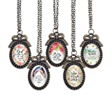 Bling Bling Glass Cabochon Necklace Vintage Bible
