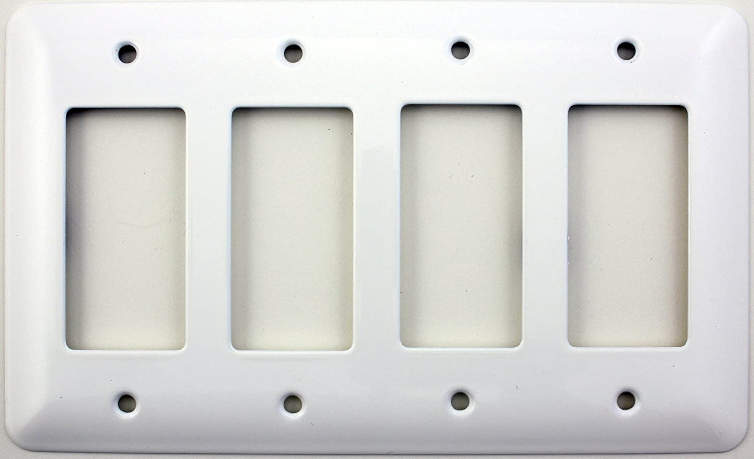 Mulberry Princess Style White Four Gang GFI/Rocker Opening Switch Plate