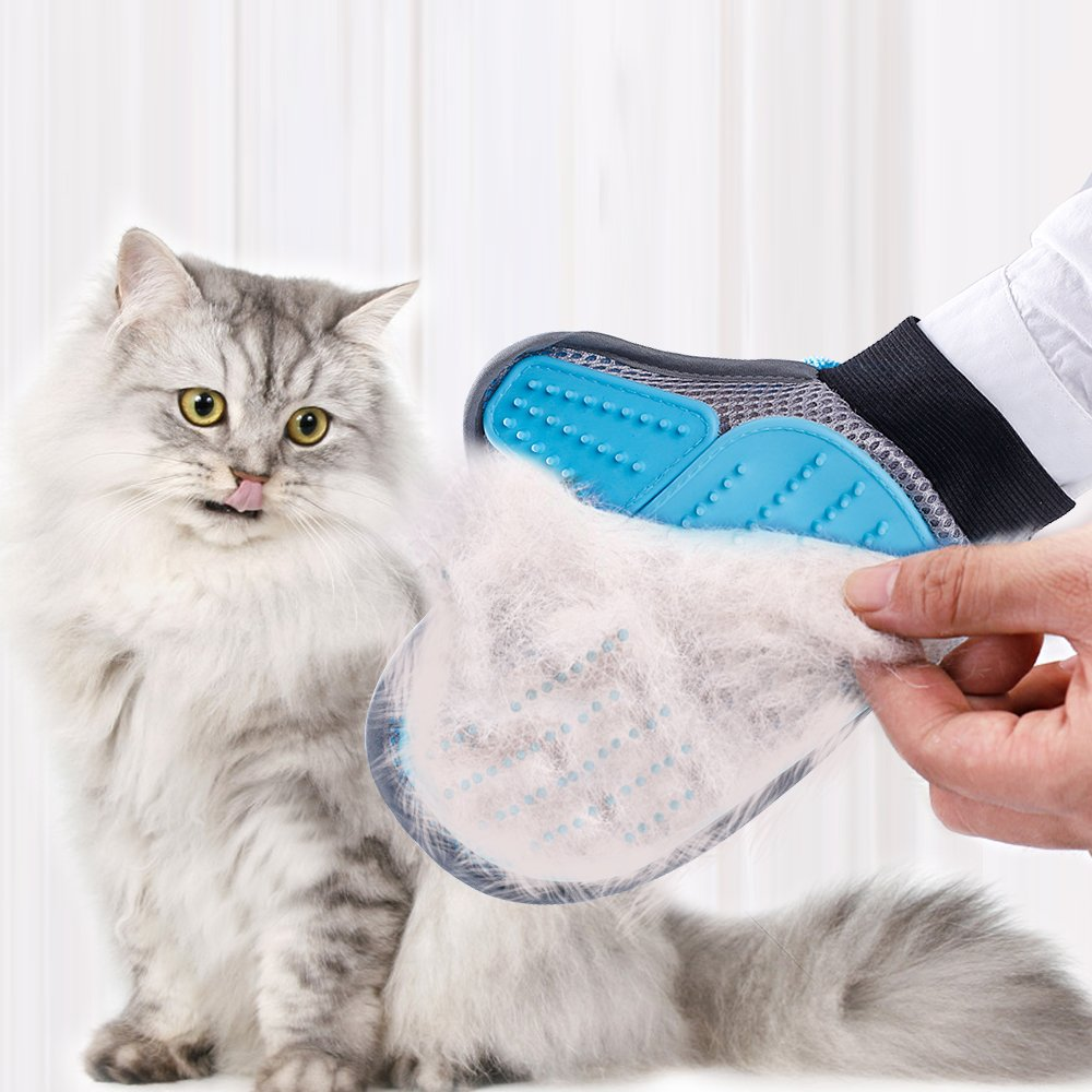 RABBITGOO 2-in-1 Pet Glove:Pet Grooming Tool+Furniture Hair Remover,Pet Hair Remover,Bathing Brush,Gentle Deshedding Brush Glove for Dog and Cat, Massaging Tool for Dogs & Cats,1 Pack.