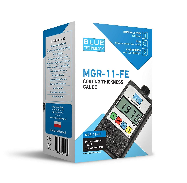 Blue Technology MGR 11/Fe Paint Rivestimento Spessore Meter Gauge Spessimetro di Tester di Strati Coltello di Spessore per Acciaio Nero