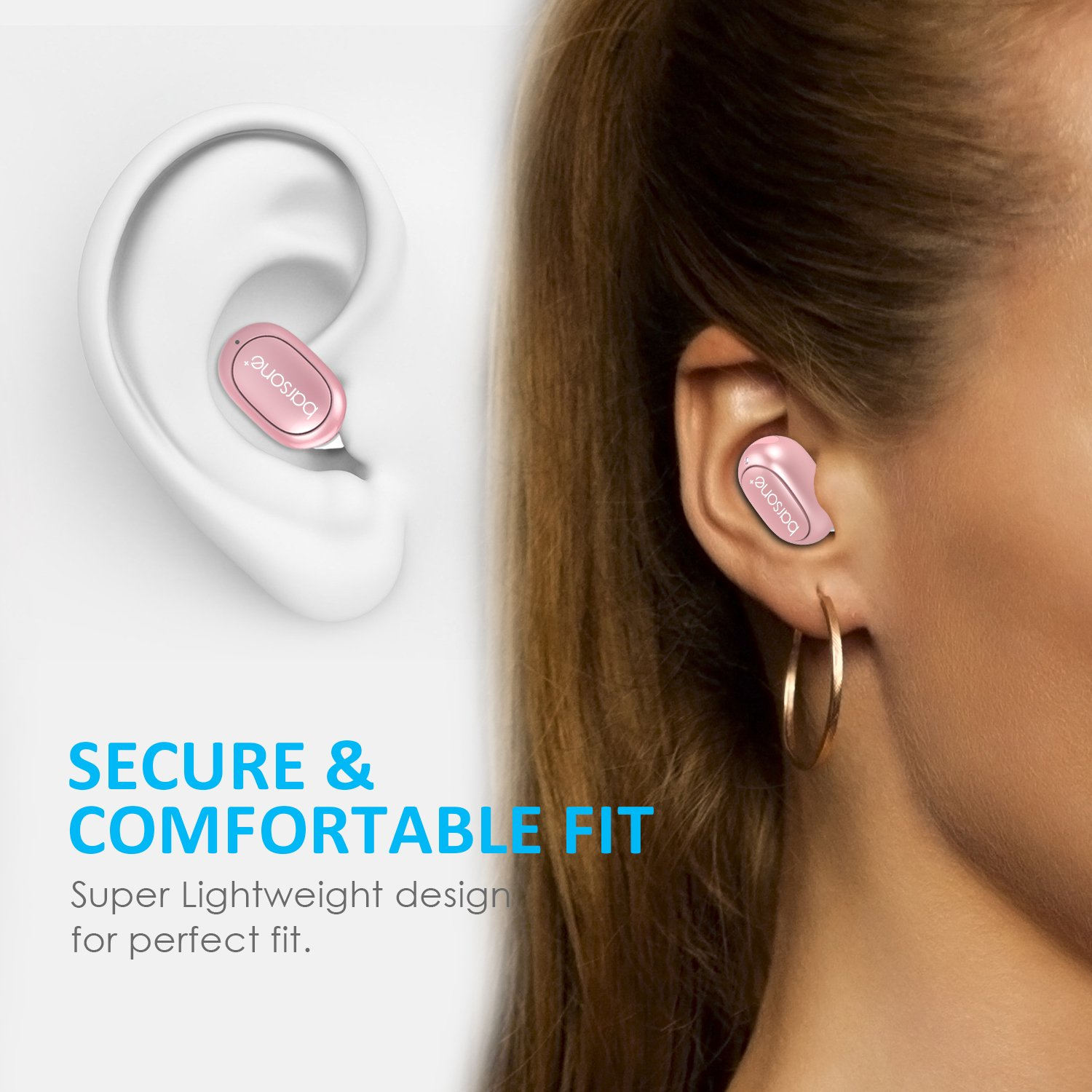 Bluetooth Earbud, Barsone Mini Bluetooth Earpiece Wireless Earphones Handsfree with Mic, In-ear Mini Bluetooth Ultra Light Headphones For IPhone Samsung and Any Other Smartphones (Rose gold)