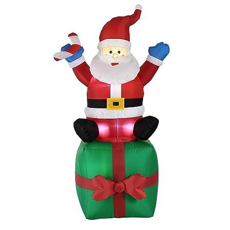 [en.casa]®] Papá Noel Hinchable Sentado en Regalo Muñeco de Navidad con 4 Leds Integrados 180 cm